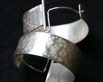 Hammered Sterling Heavy Hoop Earrings
