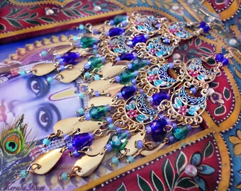 """Bright Gold Hand-Painted Floral Chandelier Earrings, 5"""" Long Crystal East Indian Gypsy Earrings, Bohemian, Green and Blue or Red and Purple"""