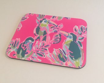 Mouse Pad  made with Lilly Pulitzer Signature Fabric Multi Toucan Can