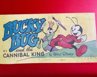 """Vintage """"BUCKY BUG and the Cannibal King"""" by Walt Disney Pocket Comic Book 1947"""