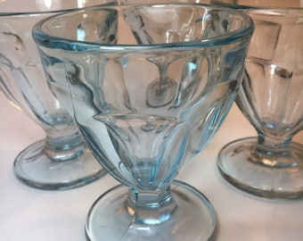 Set of 4 blue glass sorbet dessert bowl