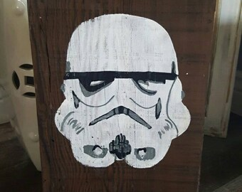 Stormtrooper hand-painted on reclaimed wood
