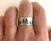 Pine Tree Ring, hand stamped forest mountain aluminum sterling silver adjustable wide trees hiking climbing birthday graduation gift for her