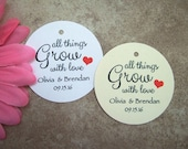 Let Love Grow Wedding Favor Tags... white, ivory.  Custom tags.  You choose color.