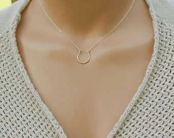 Lucky Necklace / Horseshoe Necklace, Dainty Everyday Necklace, Cowgirl Necklace, Minimal Necklace, 14k Gold Fill, Sterling Silver, Rose Gold