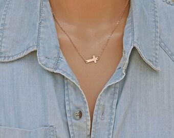 Dainty Cross Necklace, Little Gold Cross, Sideway Cross Necklace, Rose Gold Cross, Catholic Gift, Silver Cross, Faith, Confirmation Gift