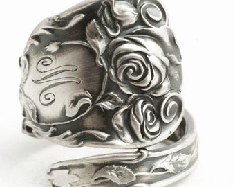 Victorian Rose Ring, Antique Silver Rose Sterling Silver Spoon Ring, Unique Gift, Engraved M, Handmade Eco Friendly, Custom Ring Size (6505)