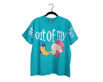 Vintage Get Out Of My Face Daffy Duck & Elmer Fudd Bright Teal Looney Tunes All Over Print Crewneck T-Shirt, Made in USA - Medium