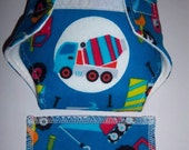 Baby Doll Diaper/wipe - construction equipment on blue -  adjustable for many dolls such as bitty baby