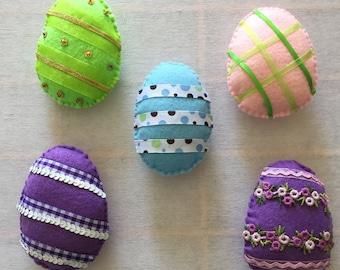 Felt Decorated Easter Egg Magnets - set of  5