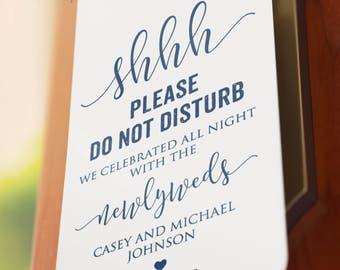 Navy Blue - Instant Download - Wedding Door Hangers - Do Not Disturb - Shhhh - Printable - DIY - Editable - Welcome Message