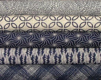 Indigo Fat Quarter Bundle of 5 by Michael Miller