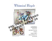 PRE-ORDER Whimsical Bicycle - Art Quilt PATTERN - Original Design Wall Art - Cycle Art - Modern Floral Bike - Sally Manke, Fiber Artist
