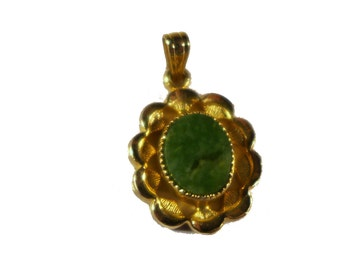 Antique Gold Filled Miniature Green Jade Pendant #2165