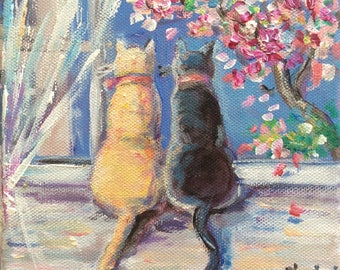 Cats Painting Spring is here Painting Original Cat Art 6 x 6""