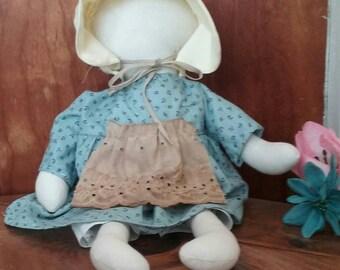 Primitive Doll, Faceless, Prairie,  Pioneer, Civil War, Handmade, Prim Doll, Shelf Sitter, Wall Hanger, Blue Dress, Bonnet, Vintage Apron