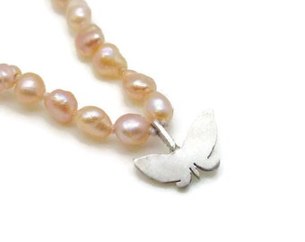Silver Butterfly and Pink Pearl Necklace - delicate, small, tiny, sweet