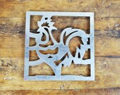 Vintage French trivet Rooster Hen Chicken Fowl Open work rest cooling rack square
