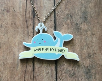 Adorable whale necklace