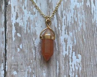Gorgeous peach quartz necklace