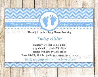 Blue Baby Shower Invitation - Baby Feet Invitation Baby Boy Shower Invitation Blue Chevron Invitation Printable Invitation Personalized