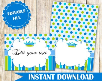 Prince Buffet Food Label - Prince Buffet Label - Printable Food Label Party Label Food Card Blue Green Prince Blank Card INSTANT DOWNLOAD