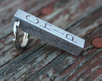 Pet ID Tag-Aluminum Bar Dog Tag-Copper Bar Hand Stamped Tag-Identification Pet Tag-Tag for Dog-Four Sided Bar Dog Tag