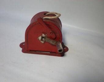 Vintage Red Retractable Wallmount Clothesline