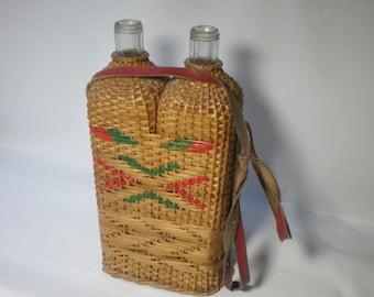 Vintage Wicker Covered Wine Bottle Demijohn