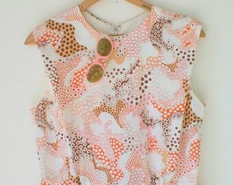 Vintage MOD GIRL Dress....size small to medium womens....floral dress. 60s dress. 70s dress. groovy. geometric. groovy. twiggy. colorful