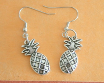The PINEAPPLE EARRINGS...kitsch. retro. fruit. earrings. beads. jewelry. melon. kitschy charms. berries. kawaii earrings. silver. hawaiian