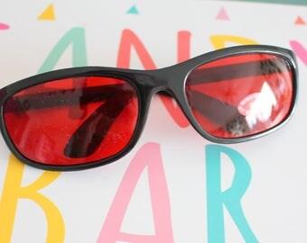 1990s RED Sunglasses Sunglasses..specs. librarian. groovy. twiggy. mod. retro glasses. prep. secretary. urban. hipster. ozzy. lennon