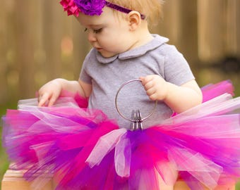 Baby TUTU Purple Pink with Flower Headband, Dora the Explorer Tutu,  Rapunzel Tutu, 1st Birthday Tutu, Pink and Purple Tutu, Tutu Set