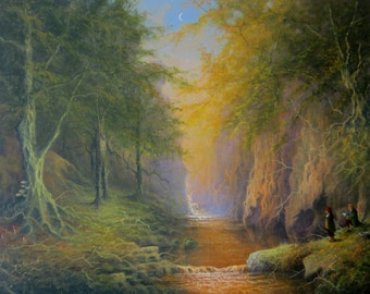 Lord Of The Rings Fangorn Treebeard Merry And Pippin. Fine Art Print From My Original Oil Painting.