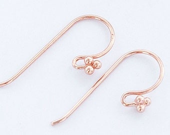 2 pairs of  925 Sterling Silver Rose Gold  Vermeil Style Earwires 8x20 mm. :pg0303