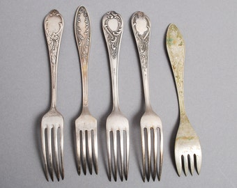 Lot of 5 Antique different silver tone metal dinner forks, 1900-1980s
