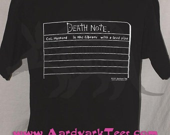 Col Mustard in the library with a lead pipe -- Death Note and Clue parody t-shirt