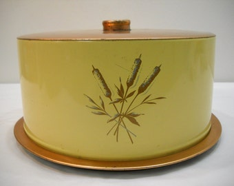 Copper & Yellow Wheat Decoware Metal Tin Cake Plate Carrier Vintage Cake Plate