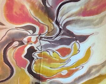 Hand Painted Silk Shawl | Autum Colors Silk Shawl / On Sale