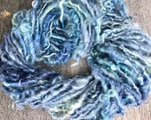 Handspun Curly Yarn Leicester Longwool By the Bay Blue