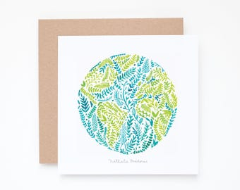 Set of 3 Watercolor Earth made of leaves Greeting Cards in turquoise and green