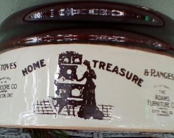 Vintage Crock Lid.  D. Moore Co. Home Treasure Stoves & Ranges Crock Lid.  G-379A