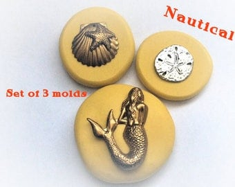 Nautical set of 3 molds- flexible silicone push mold / craft/ dessert/ mini food / resin/jewelry and more..