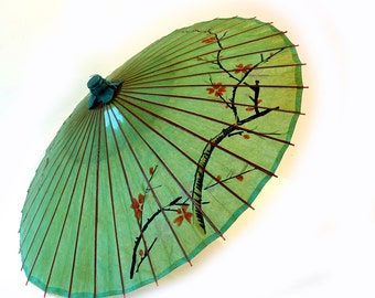 Vintage Chinese large bamboo lacquered green rice paper parasol, rice paper umbrella, asian decor