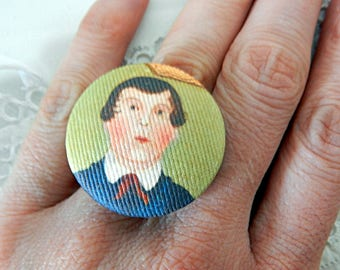 Adjustable ring, motif of an American painter of the XIXth century