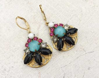 Pink, turquoise and black vintage rhinestone statement earrings on brass filigree