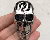 Large 3D Skull With Movable Jaw Stainless Steel Pendant-Men Jewelry