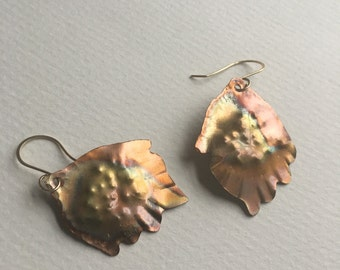 Flame painted and forged Copper Earrings, Long Earrings