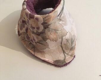 Purple and cream water colour floral bandana bib