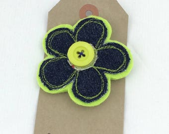 Denim and felt flower brooch,recycled denim brooch,denim,gift for her,Over to you, corsage brooch